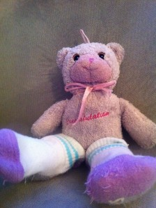 Teddy bear wearing socks