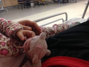 Child sleeping in hospital